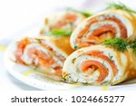 pancakes with fish salmon ... | Shutterstock . vector #1024665277