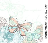 vector illustration of colorful butterflies , summer flowers and plants - stock vector