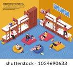hostel bedroom with guests on... | Shutterstock .eps vector #1024690633