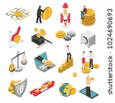 set of isometric icons with ico ... | Shutterstock .eps vector #1024690693