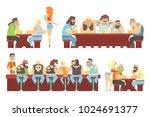 dark bar with criminal looking... | Shutterstock .eps vector #1024691377