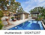 happy in luxury villa  garden...   Shutterstock . vector #102471257
