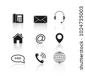 contacts set reflection icons | Shutterstock .eps vector #1024735003