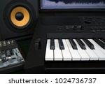 home recording studio with... | Shutterstock . vector #1024736737