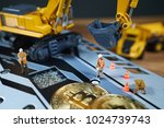 a little miner is digging on...   Shutterstock . vector #1024739743