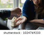 close up woman customer... | Shutterstock . vector #1024769233