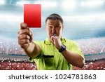 referee showing the red card in ... | Shutterstock . vector #1024781863