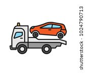 tow truck color icon. evacuator.... | Shutterstock .eps vector #1024790713