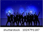 dancing people silhouettes. | Shutterstock .eps vector #1024791187