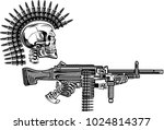 skeleton with guns cartridges... | Shutterstock . vector #1024814377