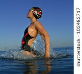 professional swimmer jumping... | Shutterstock . vector #102482717