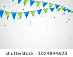 colorful party flags with... | Shutterstock .eps vector #1024844623