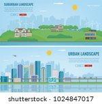 city landscape and suburban... | Shutterstock .eps vector #1024847017