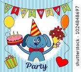 birthday party invitation card...   Shutterstock .eps vector #1024848697