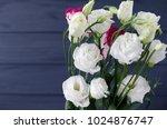 eustoma flowers on grey... | Shutterstock . vector #1024876747