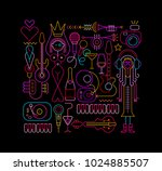 neon colors on a black... | Shutterstock .eps vector #1024885507