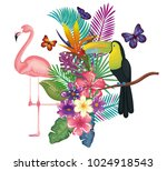 tropical and exotic garden with ... | Shutterstock .eps vector #1024918543