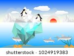 two penguins standing on ice... | Shutterstock .eps vector #1024919383