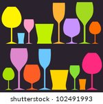 set of colorful drink glasses....