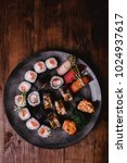 sushi set nigiri and rolls... | Shutterstock . vector #1024937617