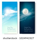 two contrasting sky banners  ... | Shutterstock .eps vector #1024942327