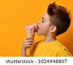 baby boy kid eating licking... | Shutterstock . vector #1024948807