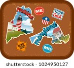 maine  maryland travel stickers ... | Shutterstock .eps vector #1024950127