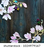 frame watercolor magnolia... | Shutterstock . vector #1024979167