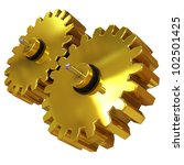 3d illustration, two gears of gold alloy rotate around its axis - stock photo