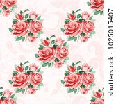 seamless floral pattern with... | Shutterstock .eps vector #1025015407