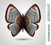 butterfly with skin mandala... | Shutterstock .eps vector #1025021197