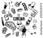 cinema illustration pack | Shutterstock .eps vector #1025025373