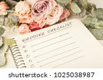 wedding checklist with copy... | Shutterstock . vector #1025038987