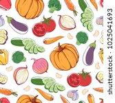 fresh vegetables on white... | Shutterstock .eps vector #1025041693