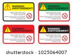 warning sticker english french... | Shutterstock .eps vector #1025064007