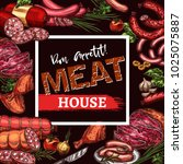 meat house menu or poster of... | Shutterstock .eps vector #1025075887