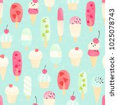 retro seamless pattern with... | Shutterstock .eps vector #1025078743