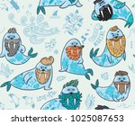 seamless pattern with cartoon... | Shutterstock .eps vector #1025087653
