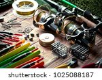 fishing rods and spinnings in...   Shutterstock . vector #1025088187