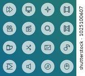 multimedia icons line style set ... | Shutterstock .eps vector #1025100607