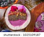 acai bowl smoothie inside... | Shutterstock . vector #1025109187