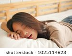 tired exhausted woman resting ... | Shutterstock . vector #1025114623