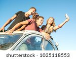 group of happy people taking a... | Shutterstock . vector #1025118553