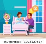 childbirth cartoon composition... | Shutterstock .eps vector #1025127517