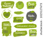 healthy food icons  labels.... | Shutterstock .eps vector #1025127673
