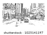 downtown road view with... | Shutterstock .eps vector #1025141197