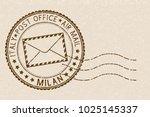 postal stamp  round brown... | Shutterstock . vector #1025145337