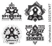 set of vintage hand spinners... | Shutterstock .eps vector #1025157697