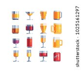 alcohol drinks glass icons set. ... | Shutterstock .eps vector #1025161297