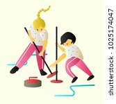 girls play curling character... | Shutterstock .eps vector #1025174047